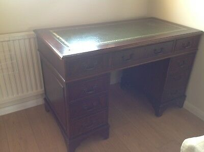 Antique Wood Leather Topped Twin Pedestal Desk