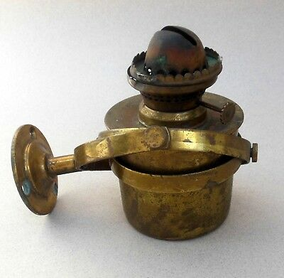 Vintage Brass Ships Oil Lamp on Gimbal Wall Mount ~ Nautical