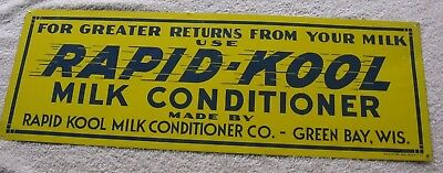 Rapid-Kool Milk Conditioner 1950's Tin Ad Sign~Dairy Agricultural~Green Bay Wis