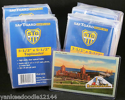 "100 SAFTGARD 3.5 X 5.5"" Rigid Hard ""Small"" Baseball HOF Postcard Topload Holders"