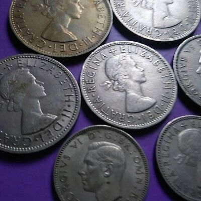 Great Britain Mixed Coin Lot of 12 - 1/2 Crowns, 2 Shillings, 1 Shillings