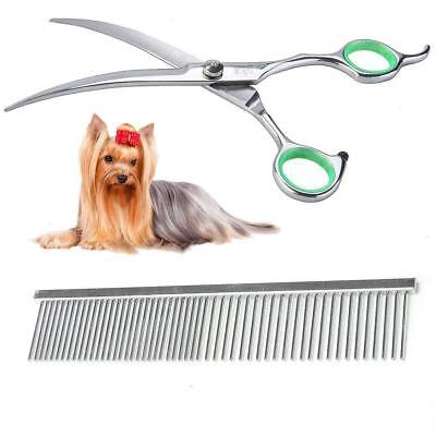 Dog Grooming Scissors Curved Scissors with Grooming Comb Round Tip Top for Dogs
