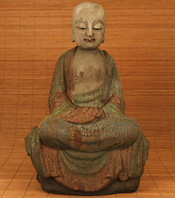 Ancient Big chinese old Wood Hand Carved Buddha Rare Statue ornament collect