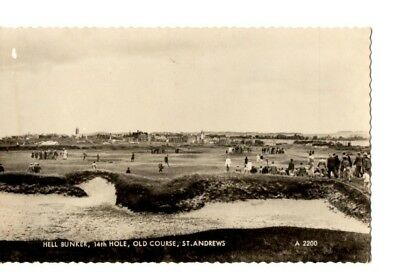 Postcard The Old Course at St. Andrews Hell Bunker Spectators RPPC UK2