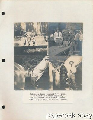 1908 Four Original Photos Of Bohemian Club's Bohemian Grove In California