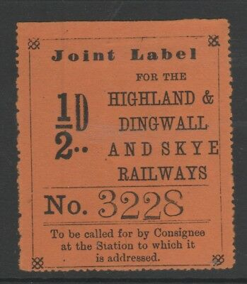 1874 Highland & Dingwall & Skye Railway Halfpenny Orange Joint News Stamp