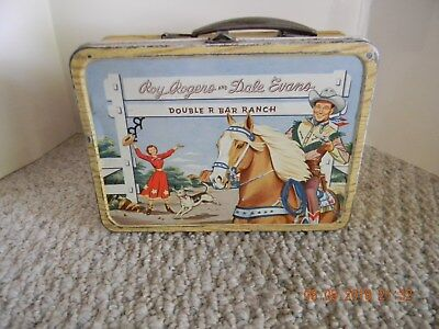 VINTAGE 1950s  ROY ROGER & DALE EVANS, TRIGGER METAL LUNCH BOX WITH THERMOS