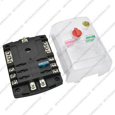 6 Way Blade Fuse Box & Cover - Positive & Negative Bus Bars