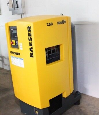 Kaeser Airtower 7.5c Rotary Screw Compressor With Dryer! 7.5HP, Vertical