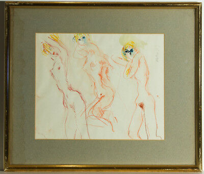Peter Collins ARCA - Signed and Framed 1967 Pastel, Female Nude Studies