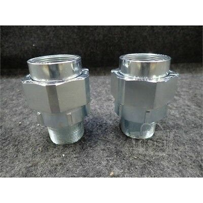 """Lot of 2 Eaton UNY505 Crouse-Hinds Male Union Conduit Fittings, 1-1/2"""""""