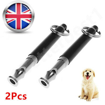 2 Pcs Pet Dog Whistle Adjustable Sound Key Chain Puppy Training Collie IN UK