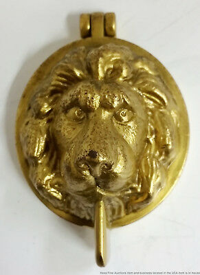 Petite Heavy Solid Brass Vintage Relief Lion Head Door Knocker 2.25in