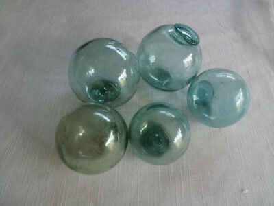 "#2 Vintage Japanese 5 Glass Fishing Float Mix of 2"" and 3"" Sizes"