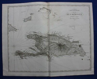 Original antique map, HISPANIOLA, DOMINICAN REPUBLIC, HAITI, Tardieu, c.1820
