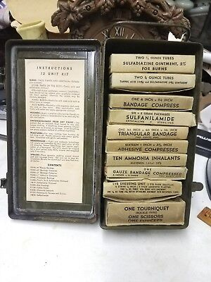 WW2 US ARMY First Aid Kit & Contents Metal Box Medic Soldier Field Kit WWII Jeep