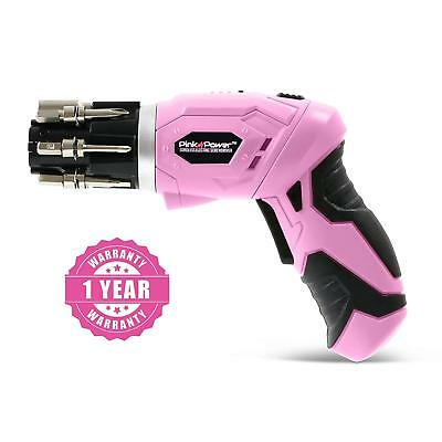 Pink Power Womens Electric Screwdriver Set 3.6 V Cordless Set with Bubble Level