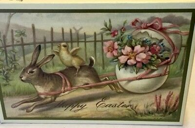 VINTAGE Style EASTER CANDY BOX ViCtorian Chick Rabbit Pulling Egg Cart $ Reduced