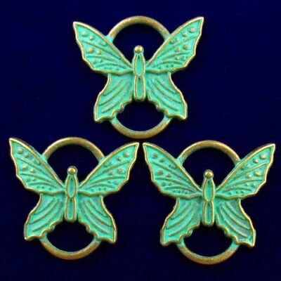 3Pcs 27x26x2mm Carved Bronze Butterfly Pendant Bead X46550
