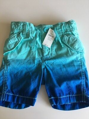 NWT Baby Gap Toddler Boy Dip Dyed Blue Shorts 18-24 Months New!