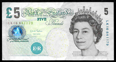 World Paper Money - Great Britain 5 Pounds ND 2002 (2012) P391d QEII @ VF