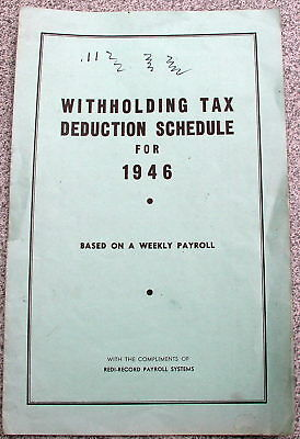 Vintage 1946 REDI RECORD Forms TAX WITHHOLDING DEDUCTION SCHEDULE Weekly Payroll