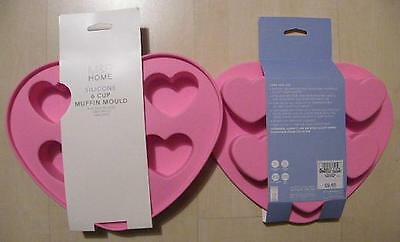 """""""m&s Home""""pink Silicone One X 6 Cup Heart Muffin Mould-Ovenproof/freezable-New!"""