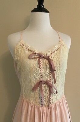 Vtg Miss Dior Christian Lace Bodice Pink Cotton Long Nighty Nightgown Lingerie M