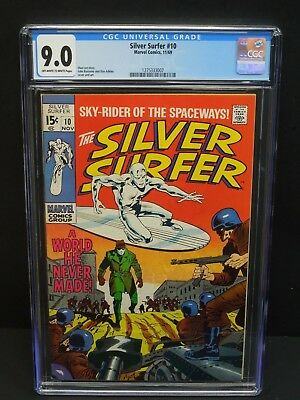 Marvel Comics Silver Surfer #10 1969 Cgc 9.0 Ow/wp Stan Lee Story