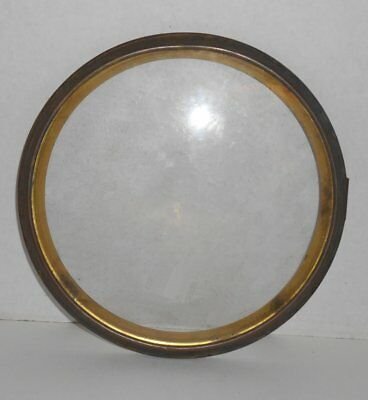 Antique Waterbury Clock Bezel Glass Brass with Hinge 8 and 1/2 inches diameter