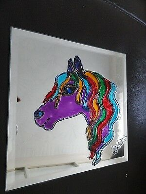 """Hand Painted Pictures  / Coaster on Mirror """"Horse"""" 20 x 20 cm"""