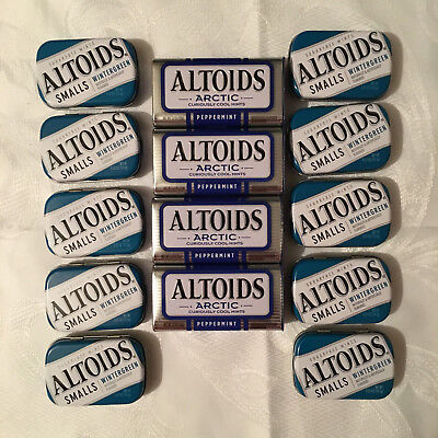 ( 14 ) Empty ALTOIDS Tins - 10 Smalls & 4 Larger - Free Shipping !!