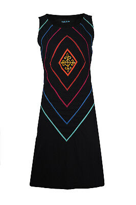 TATTOPANI Women's Black Summer Sleeveless Tunic Evening Dress