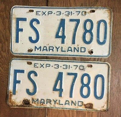 Maryland License Plate Tag Number Fs 4780 Classic Md Vintage 1970 Yom Pair