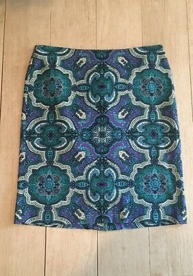 93644bc9ca TALBOTS PURPLE GREEN Blue Paisley Pencil Skirts Size 10P - $13.95 ...