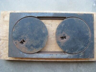 """Vintage Matching Pair of  8"""" Heavy Cast Iron Stove Cover Plates"""