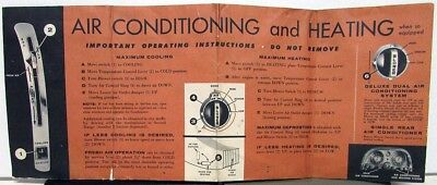 1958 Chrysler New Car Sun Visor Cover A/C Heat Instructions Imperial New Yorker
