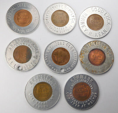 Vintage Lot Of 8 Various Business Good Luck Encased Cents