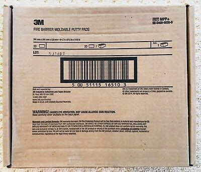 """3M Fire Barrier Moldable Putty Pads 9.5""""x9.5"""" (Box of 20) NEW"""