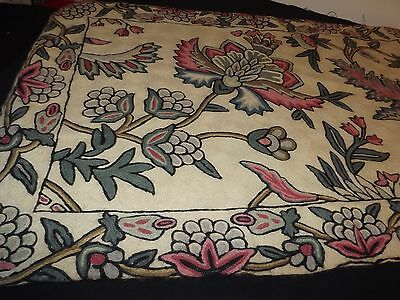 "Hand Hooked Wool Rug Pink Mauve Blue Cream Green Floral 34X22"" Lined Gorgeous"