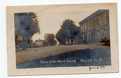 1907 View from band stand Parish NY photo postcard residential street ID #307