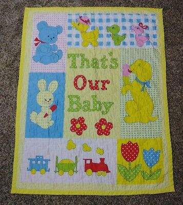 "Vintage ""That's Our Baby"" Crib Baby Blanket Quilt 42"" x 33"" Yellow,Vibrant Color"