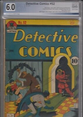Detective Comics # 52 / June 1941 / PGX graded 6.0 / Off-White to White Pages.