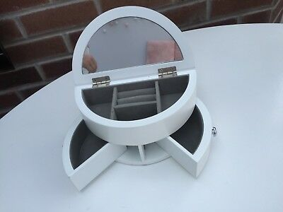 white Wooden Jewellery Box Display With Mirror