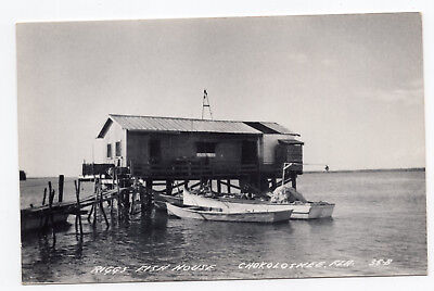 1900s Riggs Fish House Chokoloskee Fla Florida photo postcard boat unused ID#310