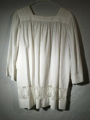 Lace Surplice w Ch-Rho Insert (Antique, Traditional, Liturgy, Vestment, Mass)