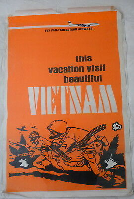 Vintage Visit Vietnam Anti War Poster 1970's Original RARE Farfareastern Airways