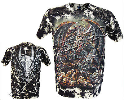 New Biker Dragon Skull Glow In The Dark Tye Dye T- Shirt  M -XXL