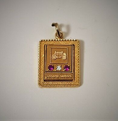 GENERAL MOTORS Service Award Charm / SAPPHIRE Diamond Gold filled