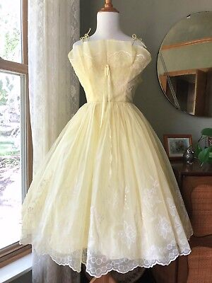 50s Dress Yellow Party Gown 1950s Flocked Floral Tulle Skirt Cocktail Vintage